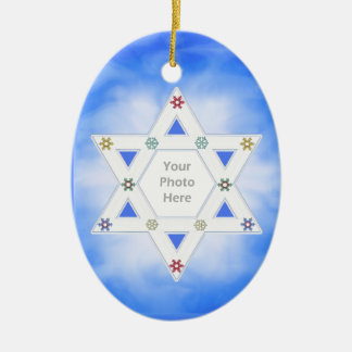 Hanukkah Star and Snowflakes Blue (photo frame) Christmas Ornament