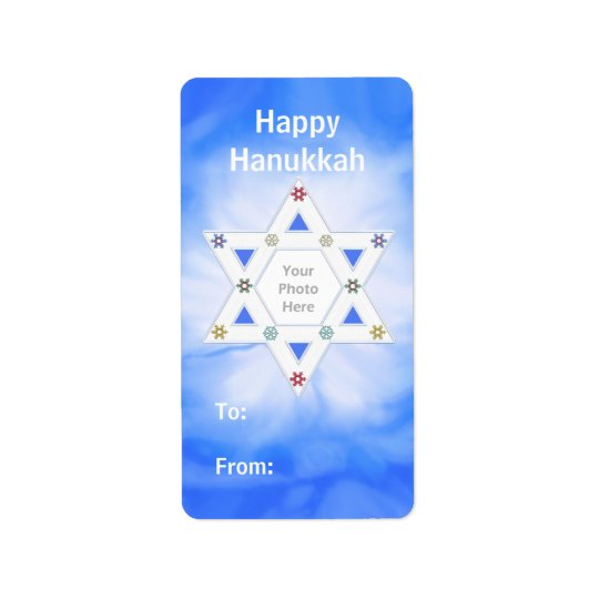 Hanukkah Star and Snowflakes Blue Photo Gift Tag Address Label