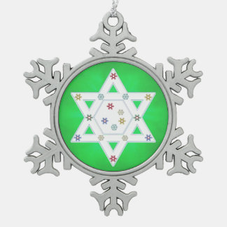 Hanukkah Star and Snowflakes Green Snowflake Pewter Christmas Ornament