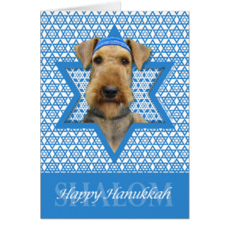 Hanukkah Star of David - Airedale Terrier Card