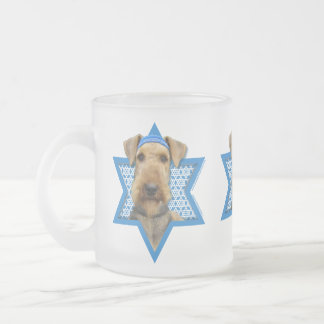 Hanukkah Star of David - Airedale Terrier Frosted Glass Coffee Mug