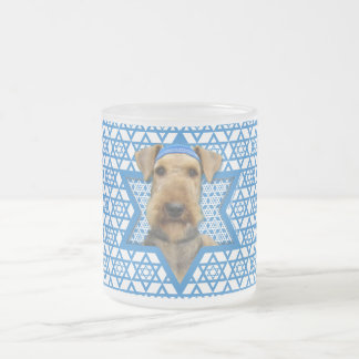 Hanukkah Star of David - Airedale Terrier Frosted Glass Mug