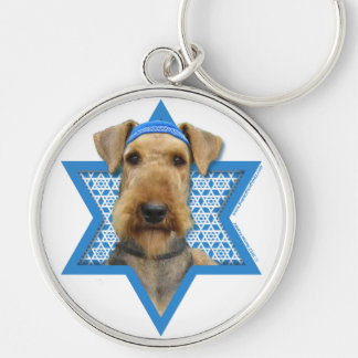 Hanukkah Star of David - Airedale Terrier Silver-Colored Round Key Ring