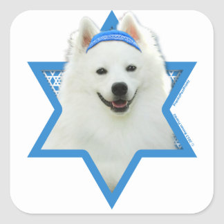 Hanukkah Star of David - American Eskimo Dog Square Sticker