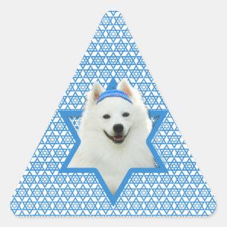 Hanukkah Star of David - American Eskimo Dog Triangle Sticker