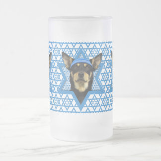 Hanukkah Star of David - Australian Kelpie Frosted Glass Mug