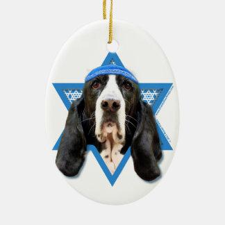 Hanukkah Star of David - Basset Hound - Jasmine Ceramic Oval Decoration