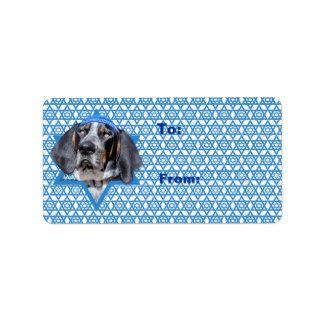 Hanukkah Star of David - Bluetick Coonhound Chuck Address Label