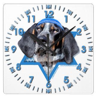 Hanukkah Star of David - Bluetick Coonhound Chuck Square Wall Clocks