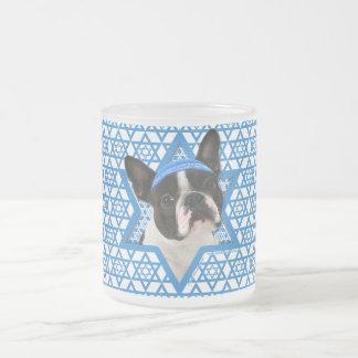 Hanukkah Star of David - Boston Terrier Frosted Glass Mug