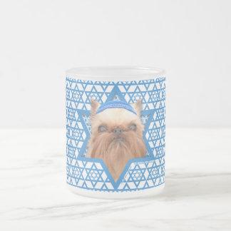 Hanukkah Star of David - Brussels Griffon Frosted Glass Mug