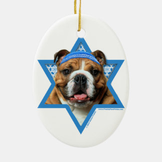 Hanukkah Star of David - Bulldog Christmas Ornament