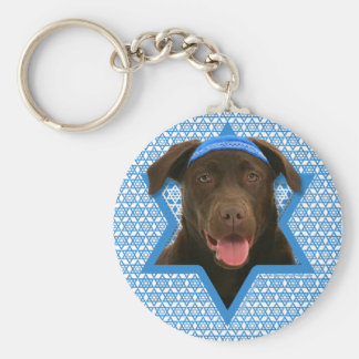 Hanukkah Star of David - Chocolate Labrador Basic Round Button Key Ring