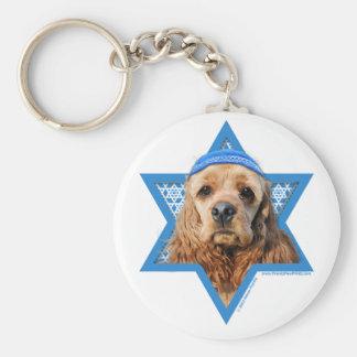 Hanukkah Star of David - Cocker Spaniel Basic Round Button Key Ring