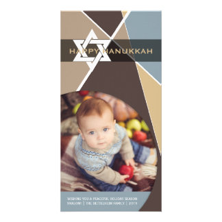 Hanukkah Star Of David Criss Cross Photo Greetings Picture Card