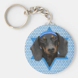 Hanukkah Star of David - Dachshund - Winston Basic Round Button Key Ring