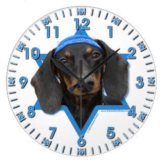 Hanukkah Star of David - Dachshund - Winston Large Clock