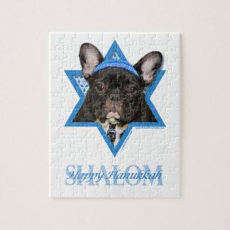 Hanukkah Star of David - French Bulldog - Teal Puzzles