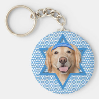 Hanukkah Star of David - Golden Retriever - Corona Basic Round Button Key Ring