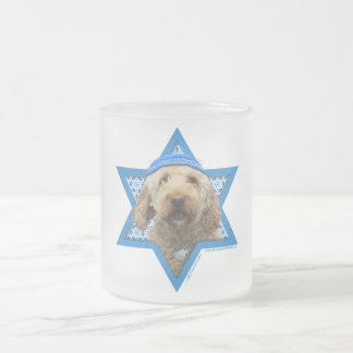 Hanukkah Star of David - GoldenDoodle Frosted Glass Coffee Mug