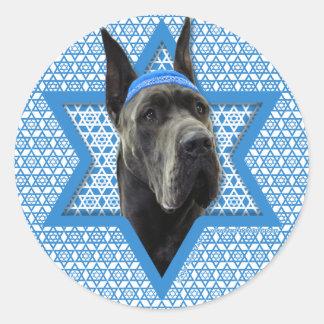 Hanukkah Star of David - Great Dane - Grey Classic Round Sticker