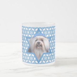 Hanukkah Star of David - Lowchen Frosted Glass Mug