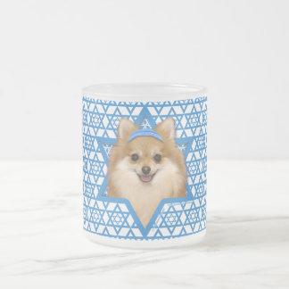 Hanukkah Star of David - Pomeranian Frosted Glass Mug