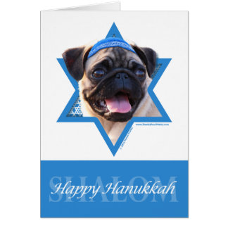 Hanukkah Star of David - Pug Card