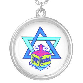 Hanukkah Star of David Round Pendant Necklace