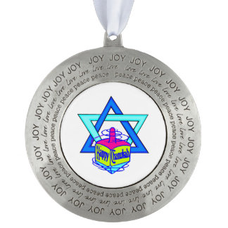 Hanukkah Star of David Round Pewter Ornament