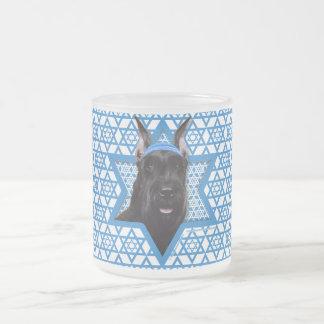Hanukkah Star of David - Schnauzer Frosted Glass Mug