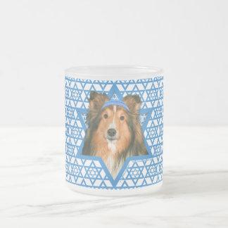 Hanukkah Star of David - Sheltie 10 Oz Frosted Glass Coffee Mug