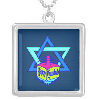 Hanukkah Star of David Square Pendant Necklace