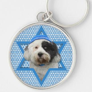 Hanukkah Star of David - Tibetan Terrier Silver-Colored Round Key Ring