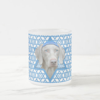 Hanukkah Star of David - Weimaraner Frosted Glass Mug