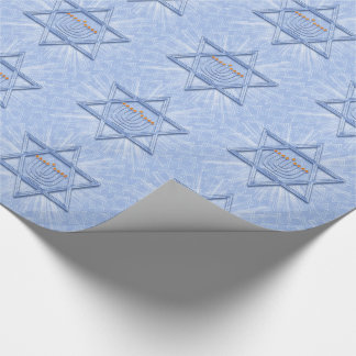 Hanukkah Star of David with Menorah and Swirls Wrapping Paper