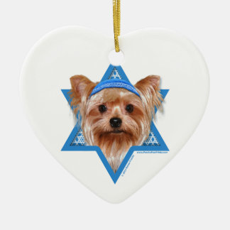 Hanukkah Star of David - Yorkshire Terrier Ceramic Heart Decoration