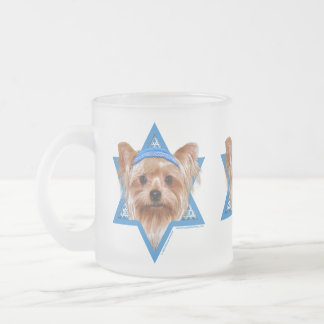 Hanukkah Star of David - Yorkshire Terrier Frosted Glass Coffee Mug