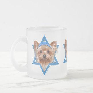 Hanukkah Star of David - Yorkshire Terrier Frosted Glass Mug