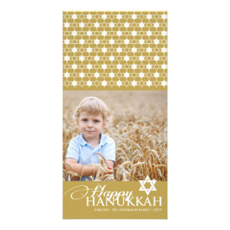 Hanukkah Stars Of David Modern Photo Greetings Custom Photo Card