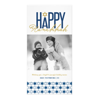 Hanukkah Stars Of David Modern Photo Greetings Personalized Photo Card
