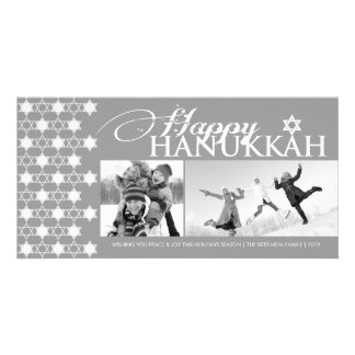 Hanukkah Stars Of David Pattern Modern Greetings Photo Card Template