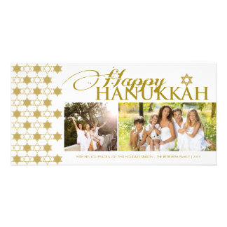 Hanukkah Stars Of David Pattern Modern Greetings Photo Greeting Card