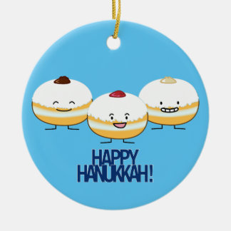 Hanukkah Sufganiyot Jewish Jelly Filled Donut Round Ceramic Decoration