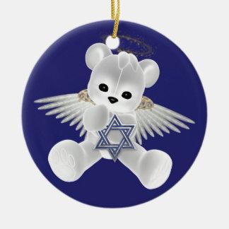 Hanukkah Teddy Bear Round Ceramic Decoration