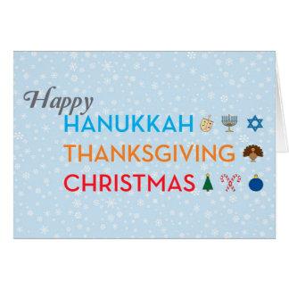 Hanukkah, Thanksgiving, Christmas Card
