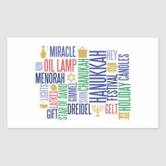 Hanukkah Words Holiday Rectangle Stickers