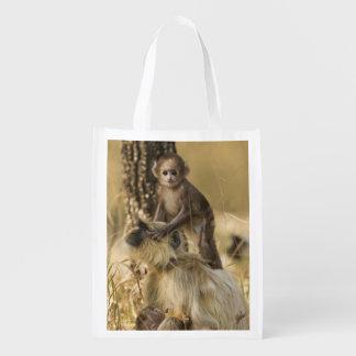 Hanuman Langur adult with young Reusable Grocery Bag