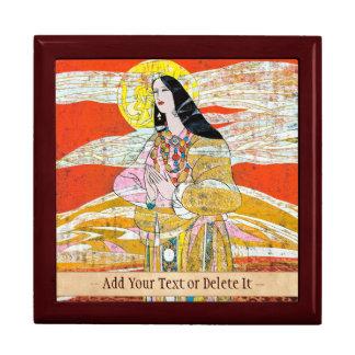 Hao Ping 'Pray' praying oriental lady abstract art Large Square Gift Box