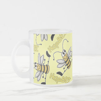 HapBEE Bee Collage Frosted Glass Mug